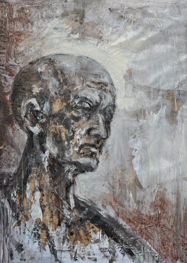Giovanni Cerri, Bartolomeo, tecnica mista su tela, 2018, cm. 115x83